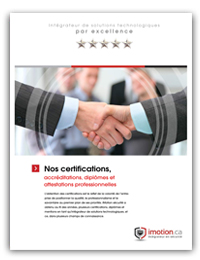 iMotion Brochure certifications